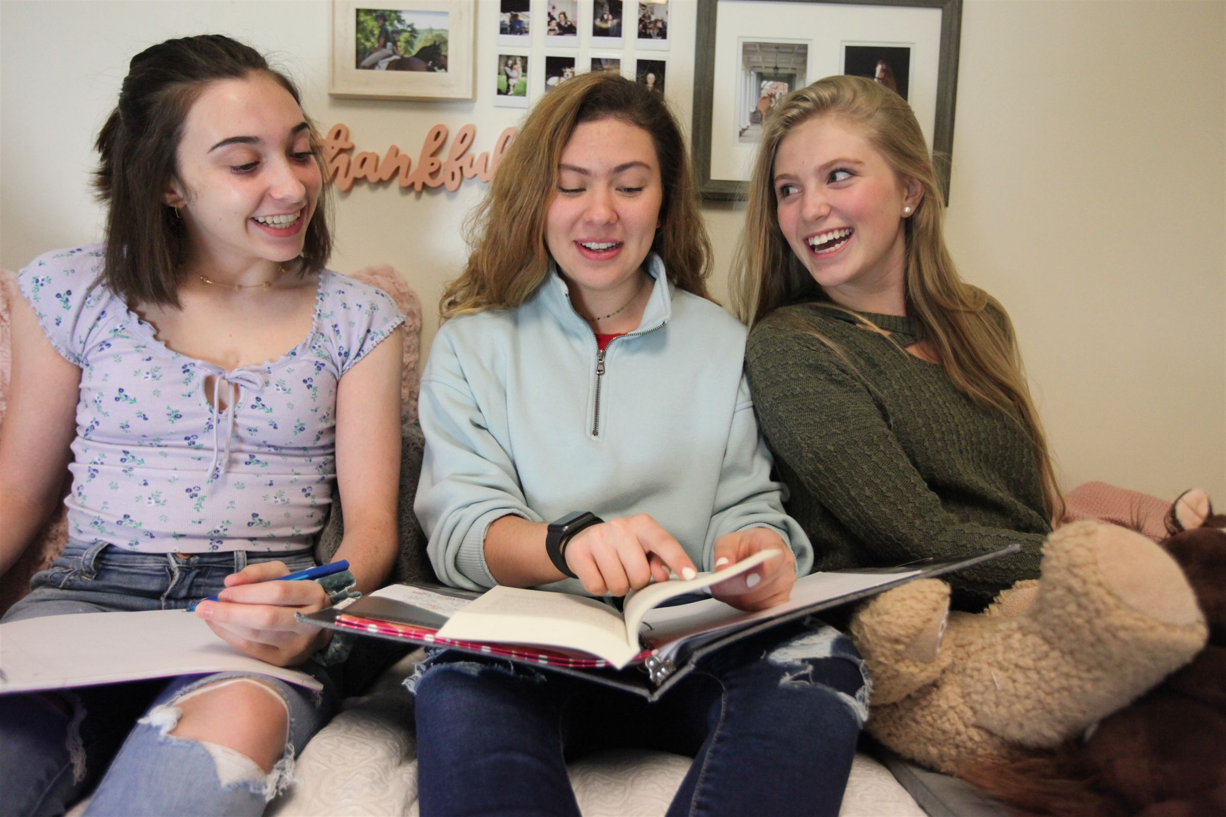 Dorm rooms are typically shared by two students, with room for friends to visit.
