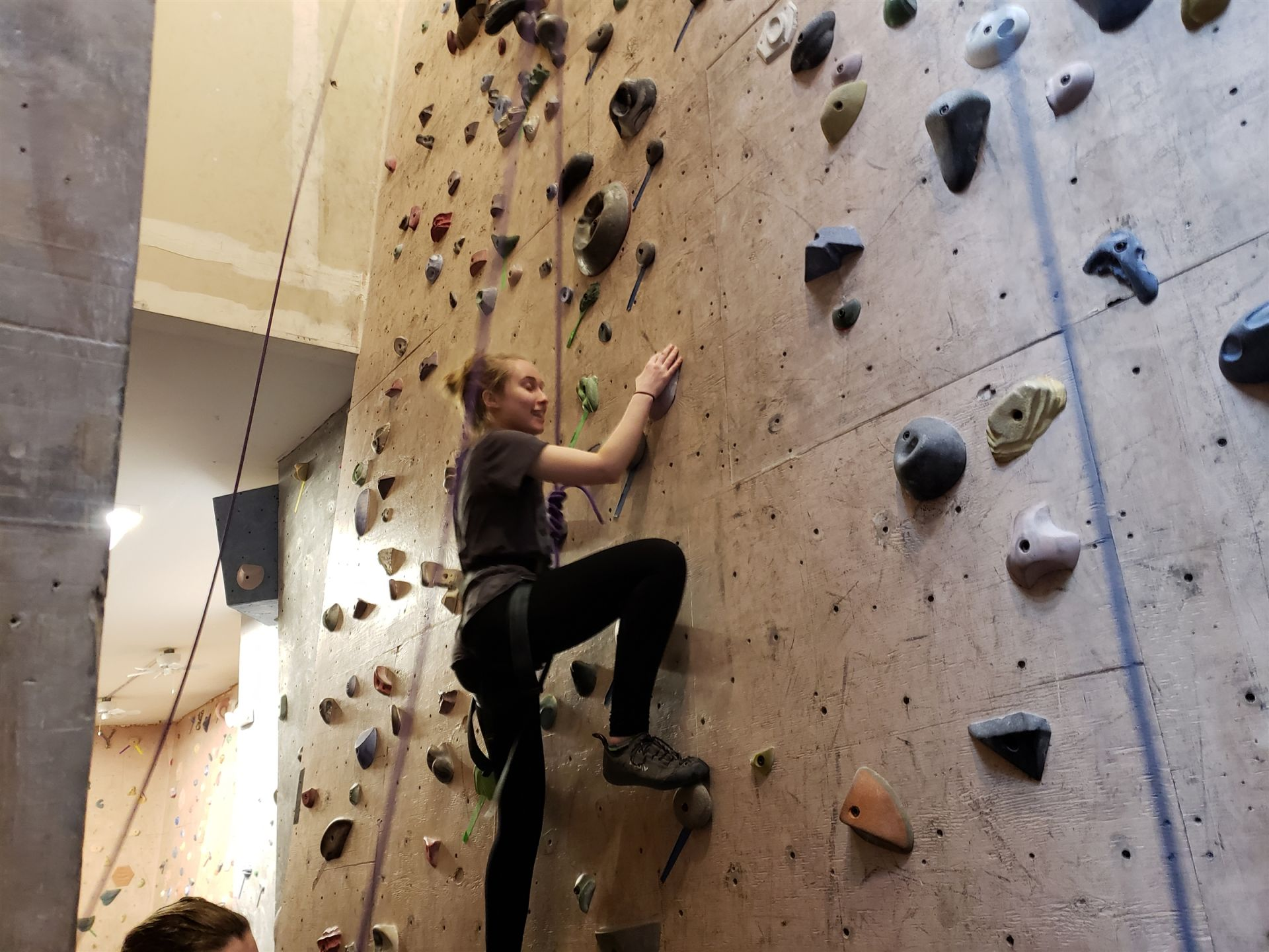 Excursion club members scaled the walls at Milton Rock Gym.