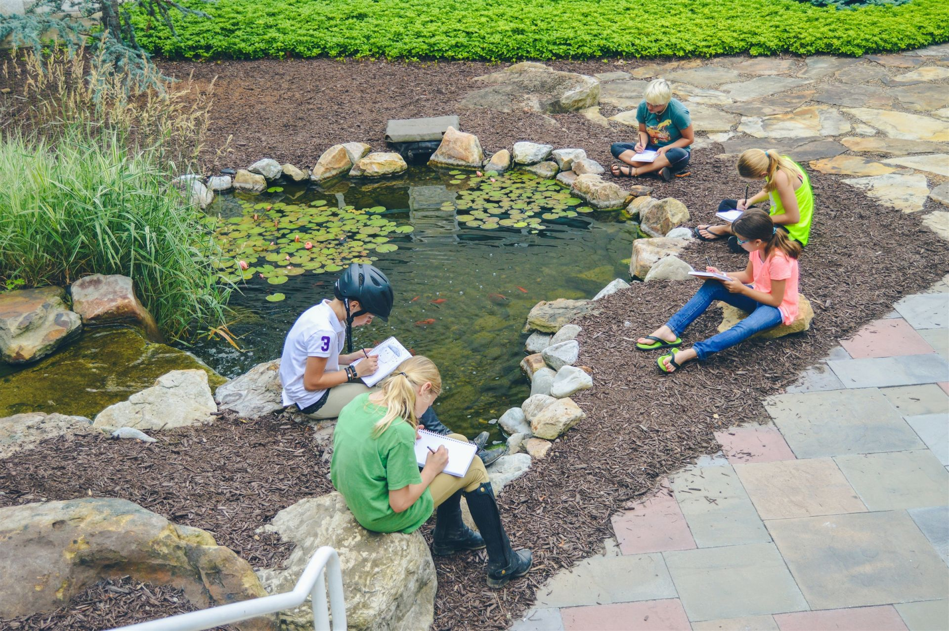 The campus koi pond provides a peaceful spot for campers to express theirselves through writing and drawing.