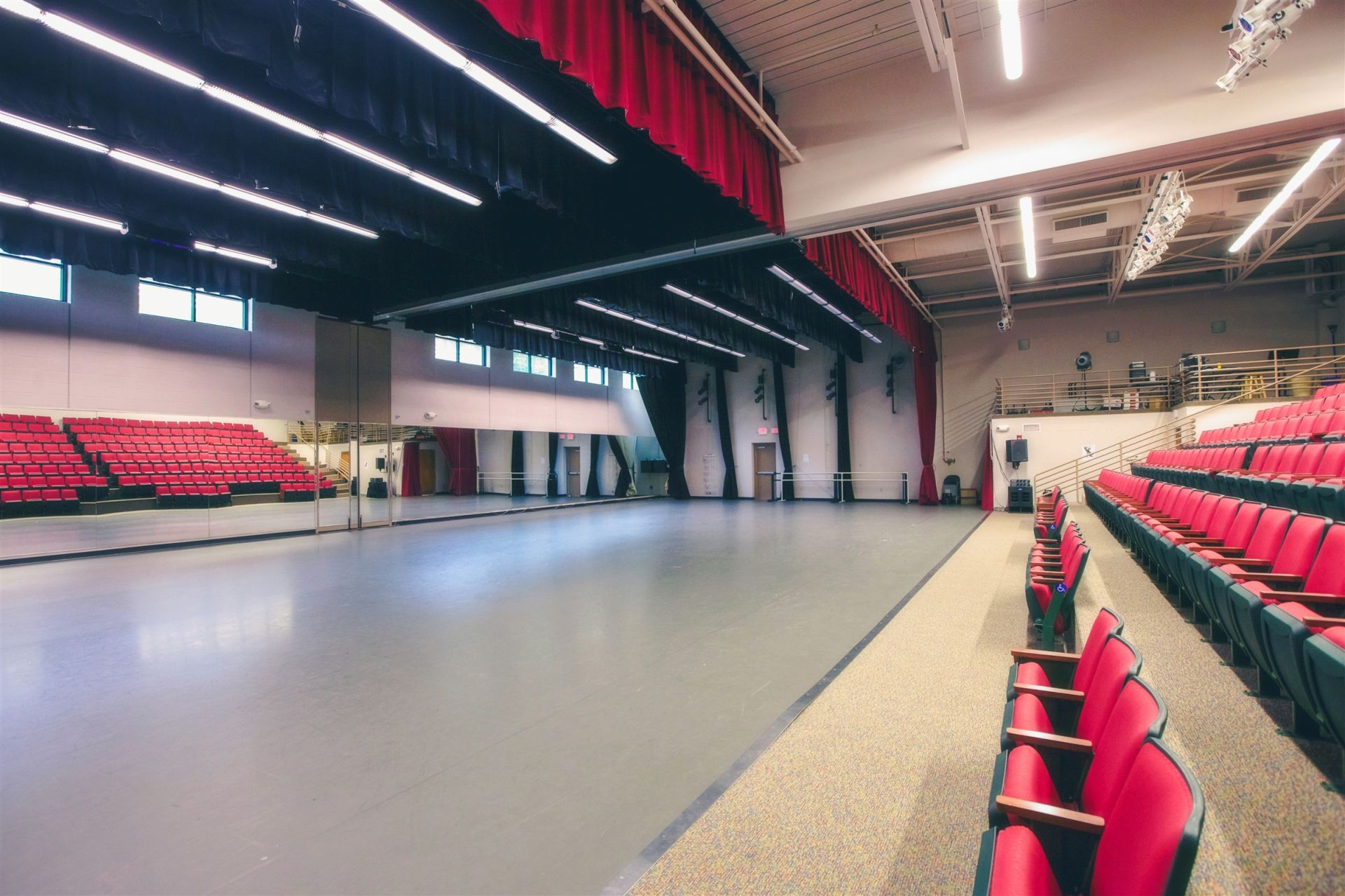This 9,600 square foot space is home to dance and theatre activities throughout the summer. A magnificent space, with state of the art lighting & sound and a retractable wall to divide the space as needed, the Grier Performing Art building is also fitted with a Harlequin sprung floor. With auditorium seating for 280, this building easily accommodates the parents and relatives who come to end of camp performances.