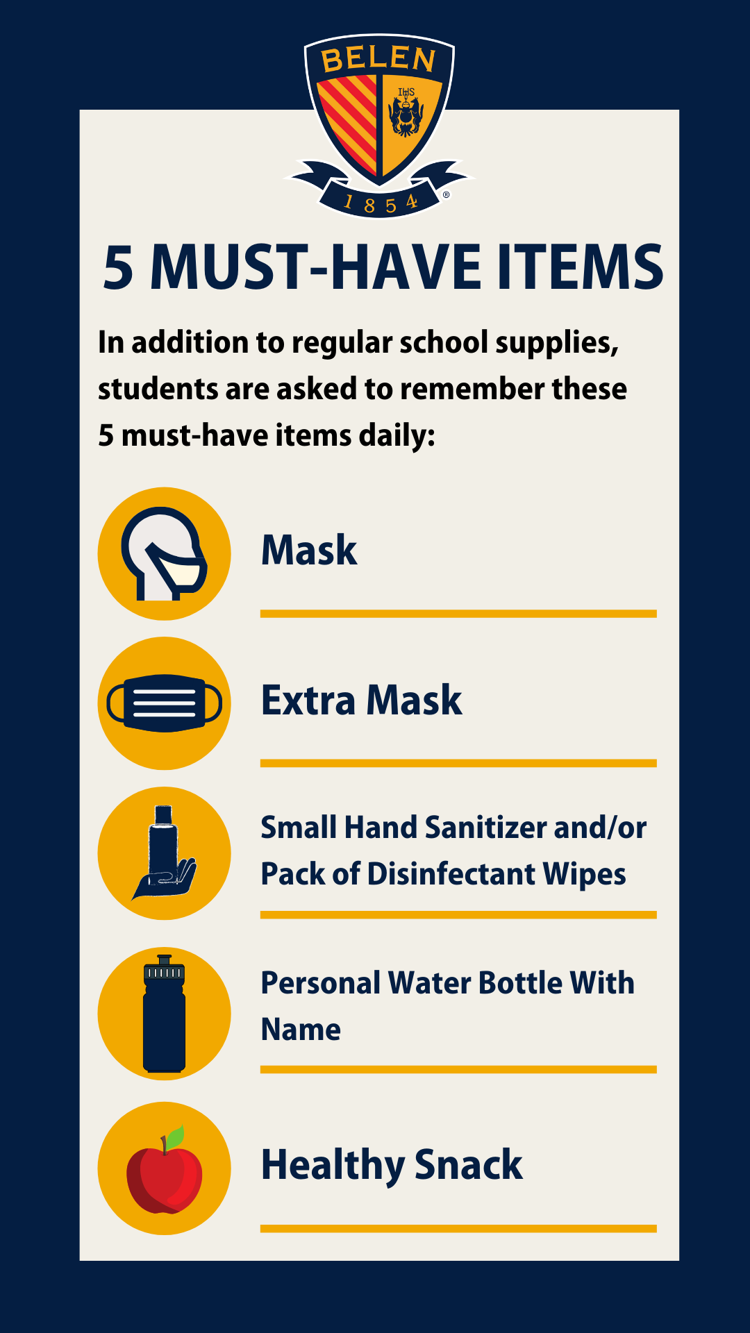 As a reminder, Belen Jesuit will provide each student with two washable face masks on the first day of class. All students should arrive to campus wearing a face mask.