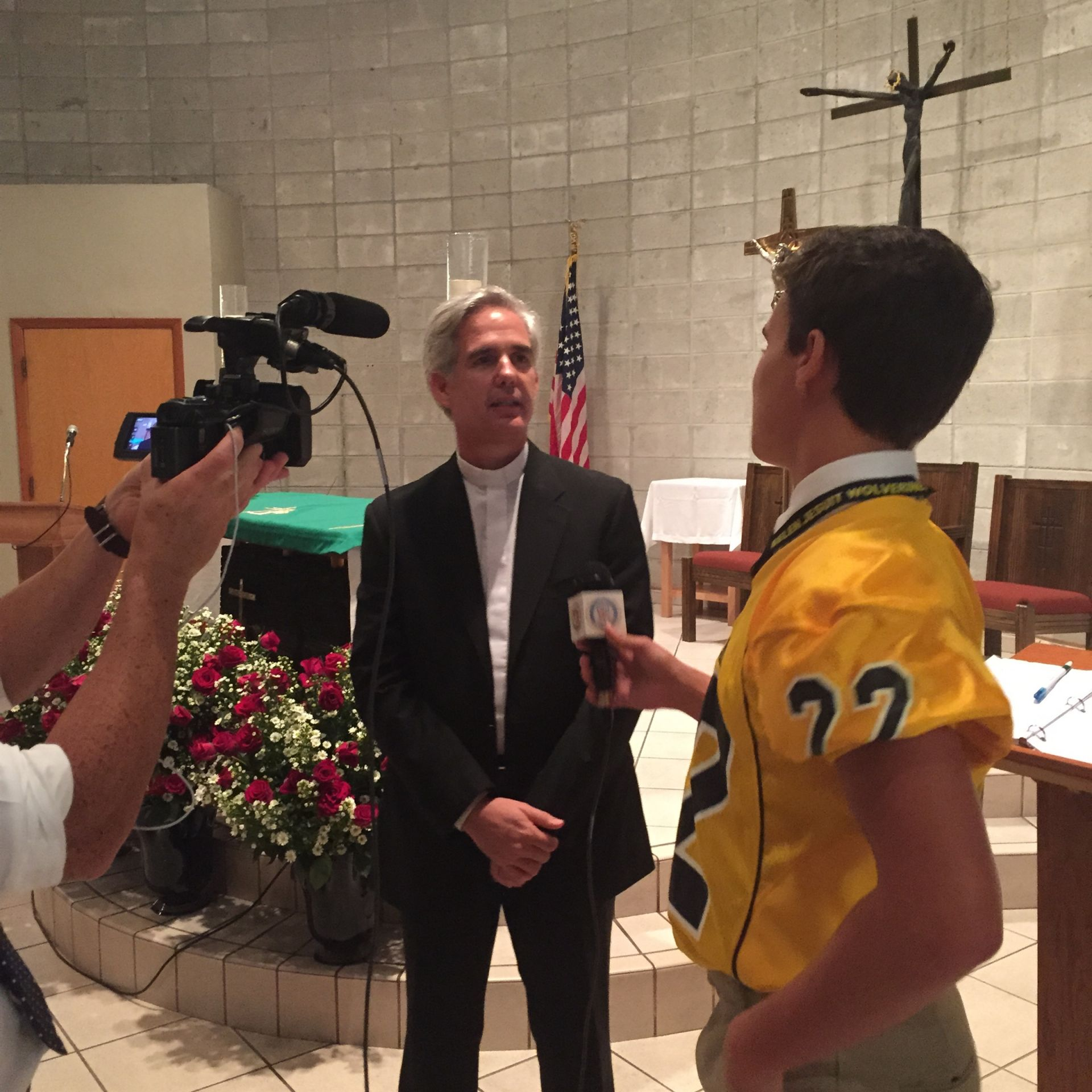 WBLN reporter Frankie Menendez interviews the Jesuit Provincial of the Antilles Province Javier Vidal.