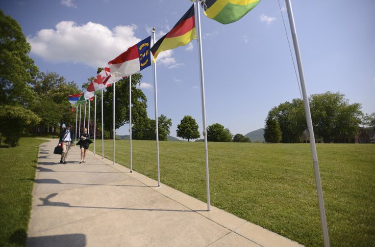 Flags on campus