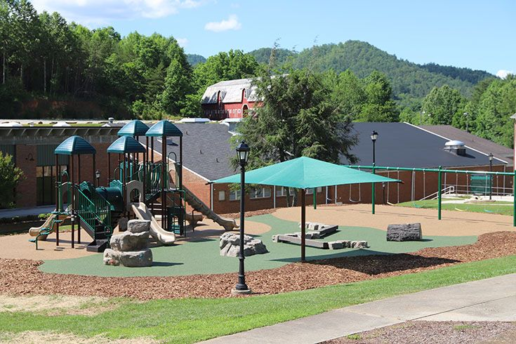 The new playground, complete with new play structure, swings, and poured rubber surface, opened in 2020.