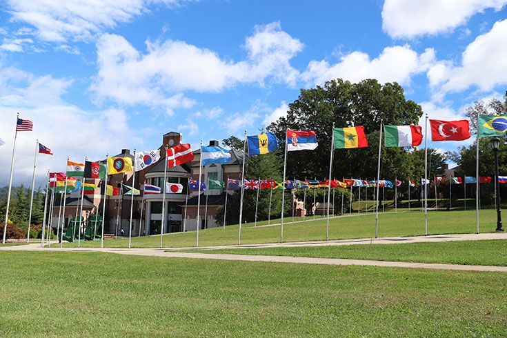 Our flag plaza in the center of campus showcases the 50+ countries represented in our student body.