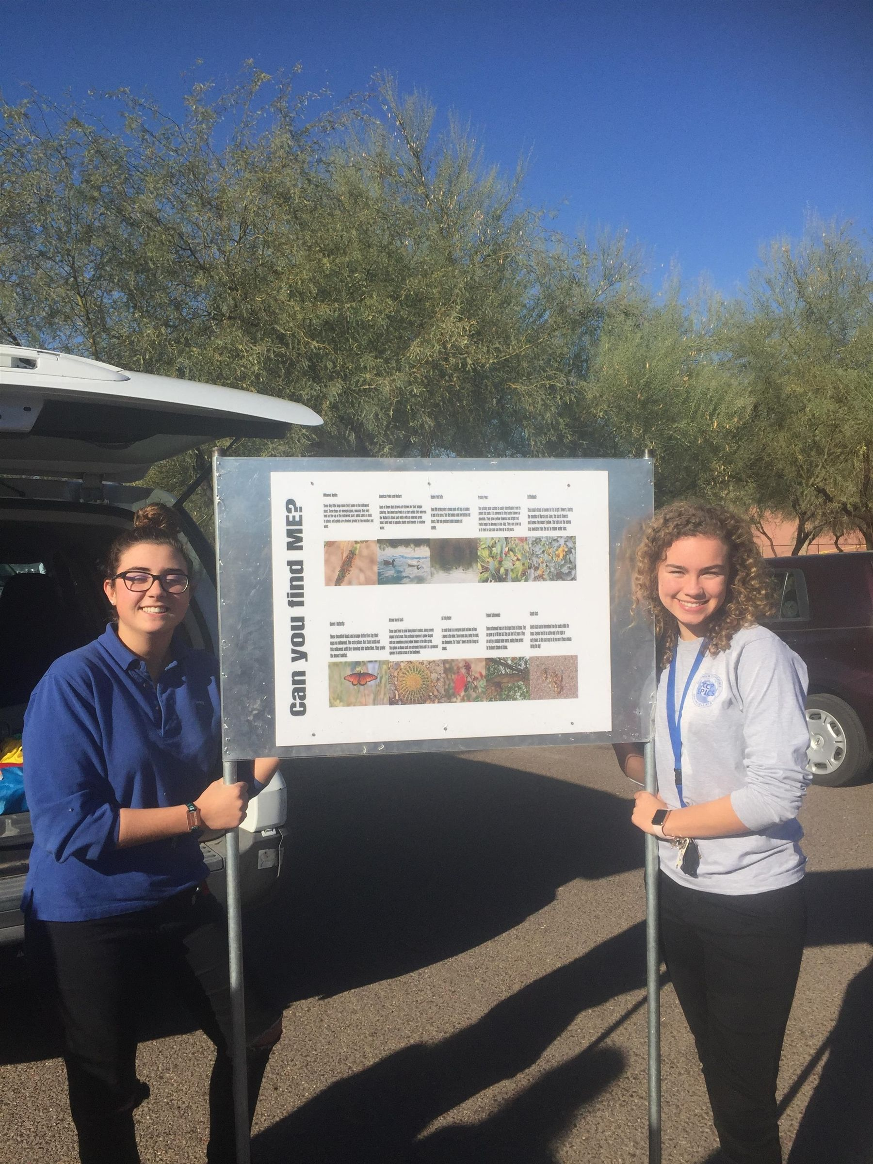 AP Environmental Science - as part of the EPICS program students participate in community service projects for the Rio Salado Restoration Area in south Phoenix. Here students made a field guide sign for the community to identify the plants and animals in the area.
