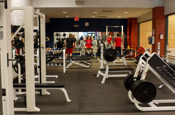 Overlooking the Fieldhouse courts, the Danco Family Fitness Center houses cardiovascular and weight training equipment, overseen by a physical trainer.