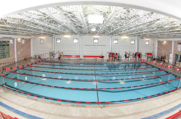 The Simon Natatorium is home to six-lane, indoor swimming pool and includes a touch pad scoring system.