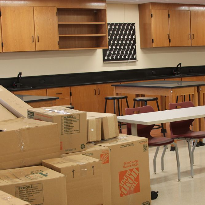 Unpacking and setting up the new classrooms begins! (August 24, 2016)
