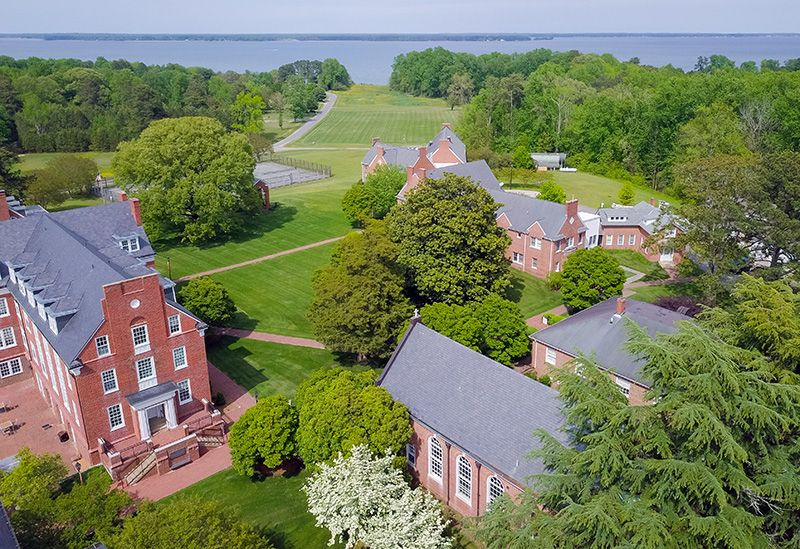 boarding school campus fields and traditional brick campus