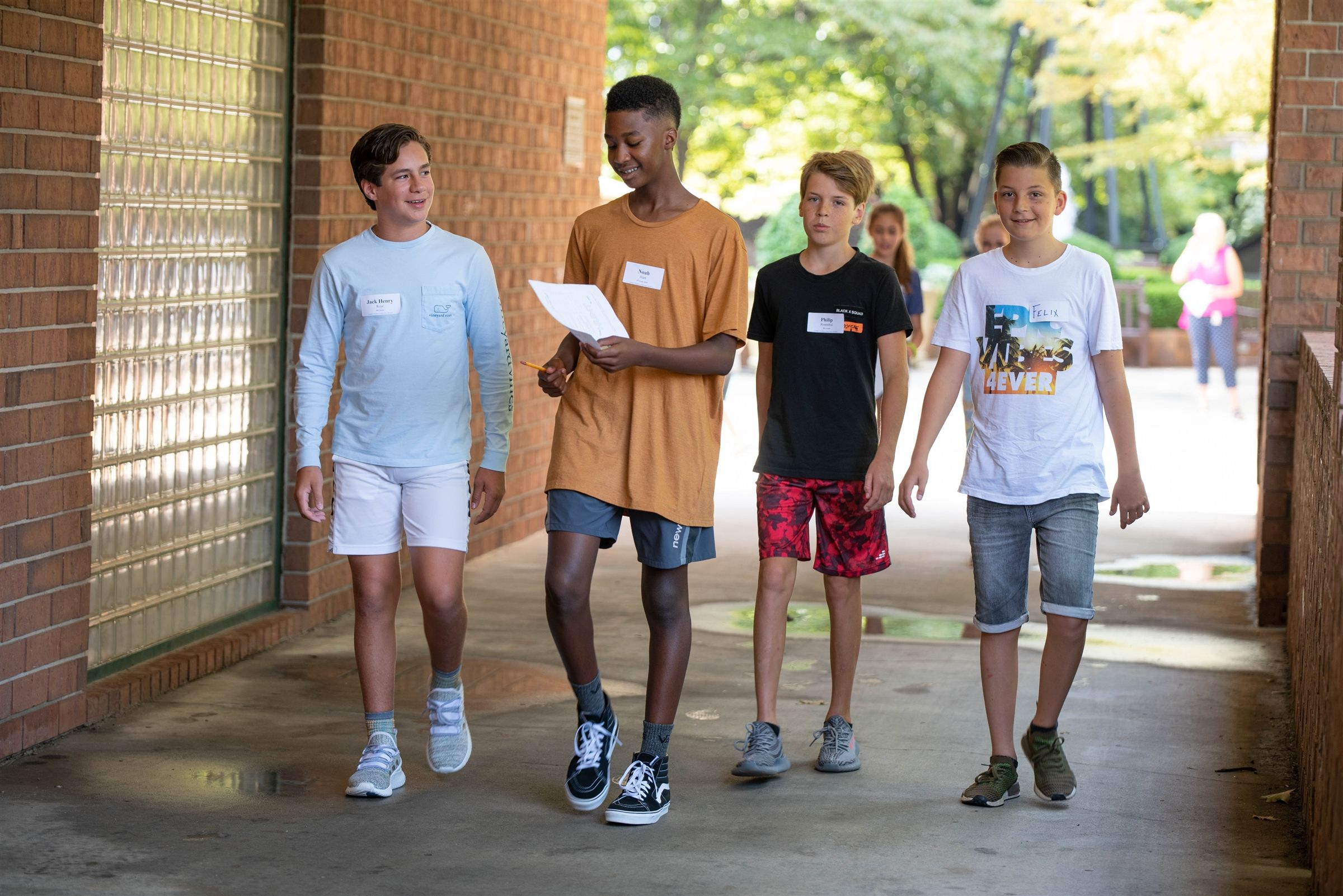 "Middle School students participate in a ""New Student Scavenger Hunt"" right before school starts to get them acquainted with CCES."