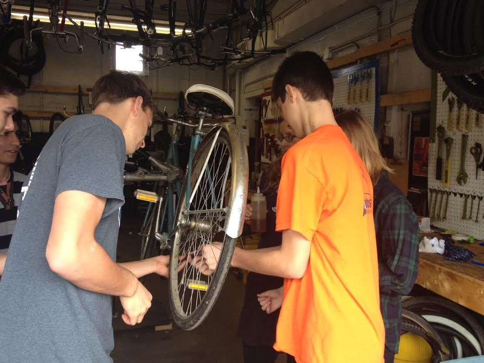 Working on bikes