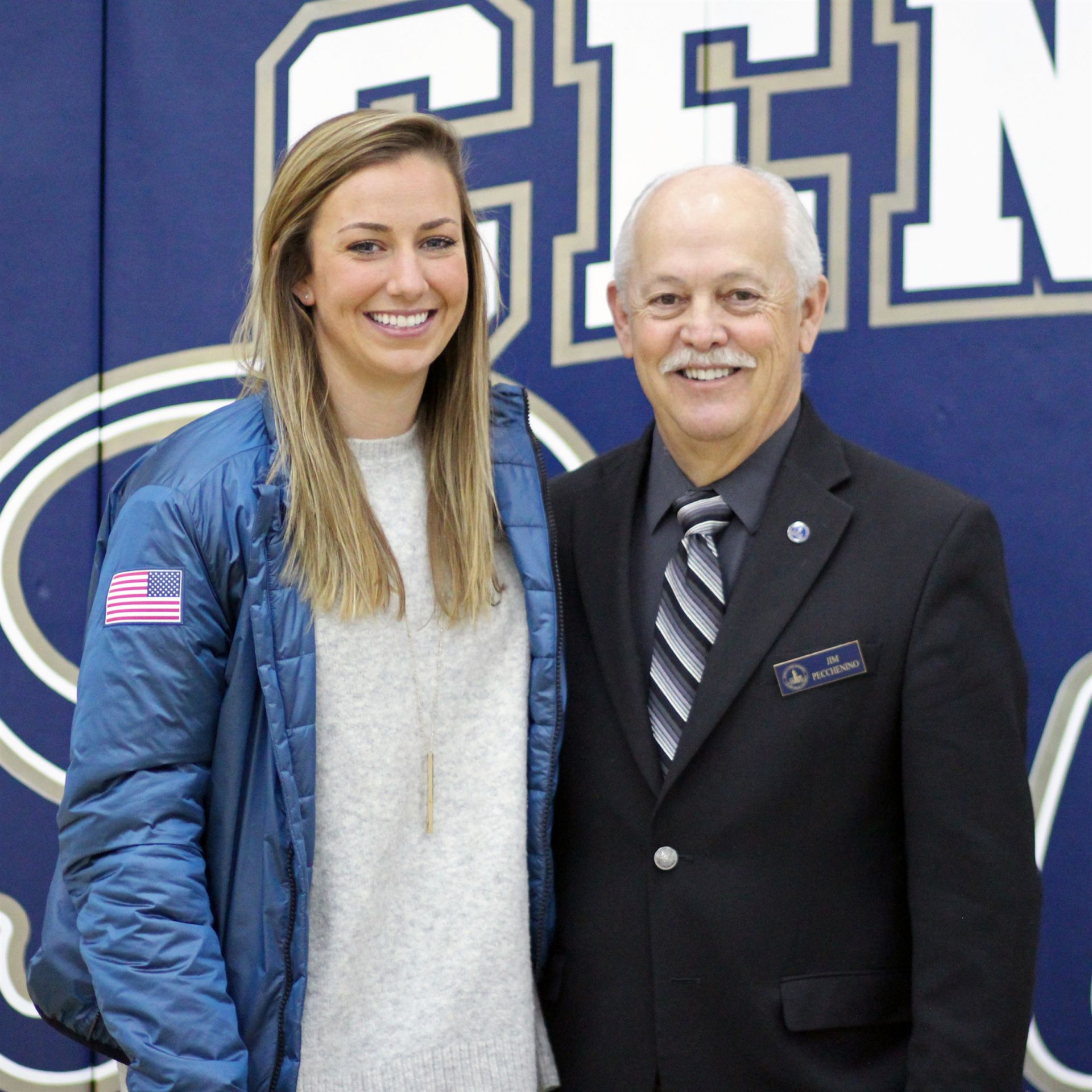 Kendall Wesenberg '08, 2018 Winter Olympian and our Career Day 2018 Keynote speaker with CC President Mr. Pecchenino '72