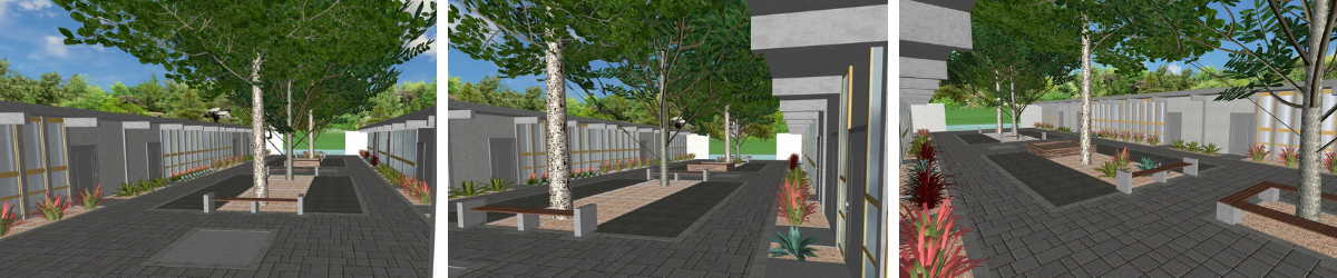 Rendering of newly-created Alumni Courtyard