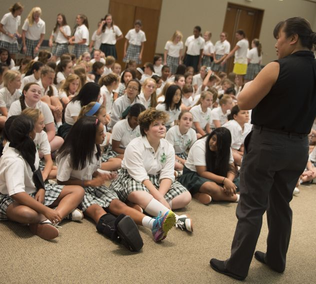 Rosetta Lee visits with Middle School