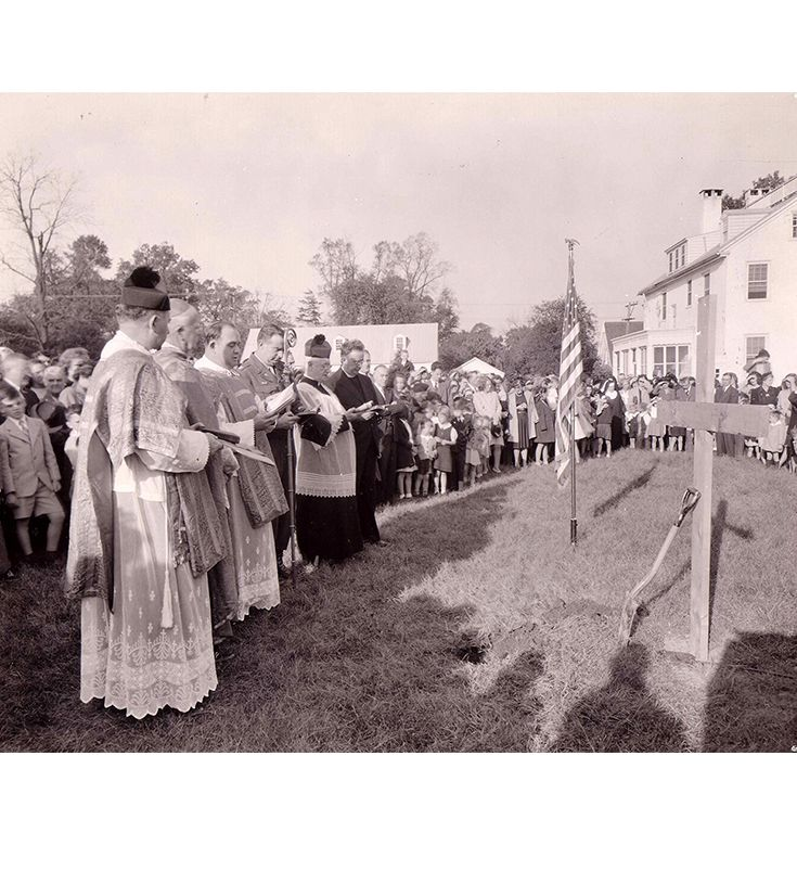 Groundbreaking for new church October 21, 1945.