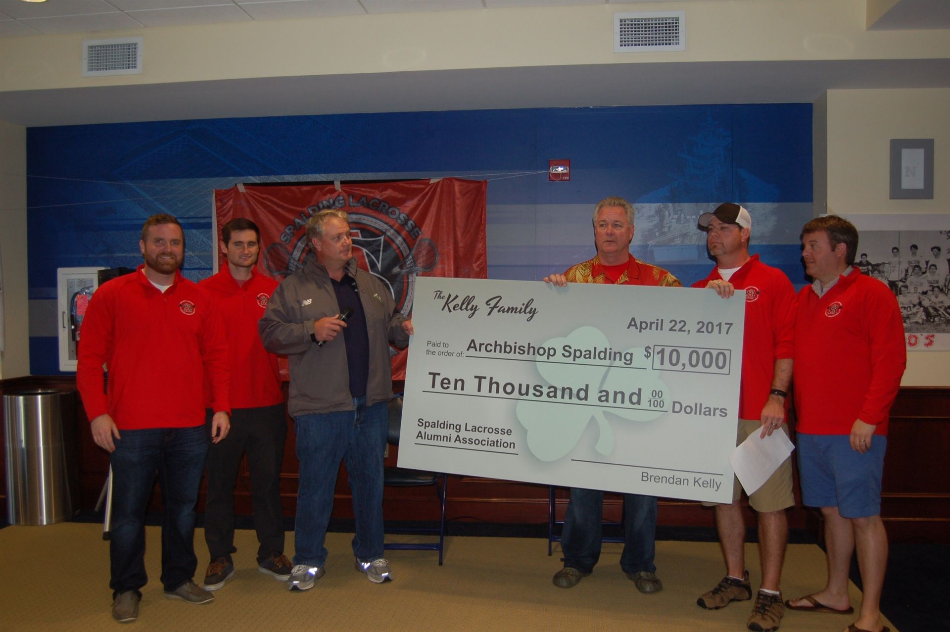 The Kelly family presented a $10,000 check to the SLAA
