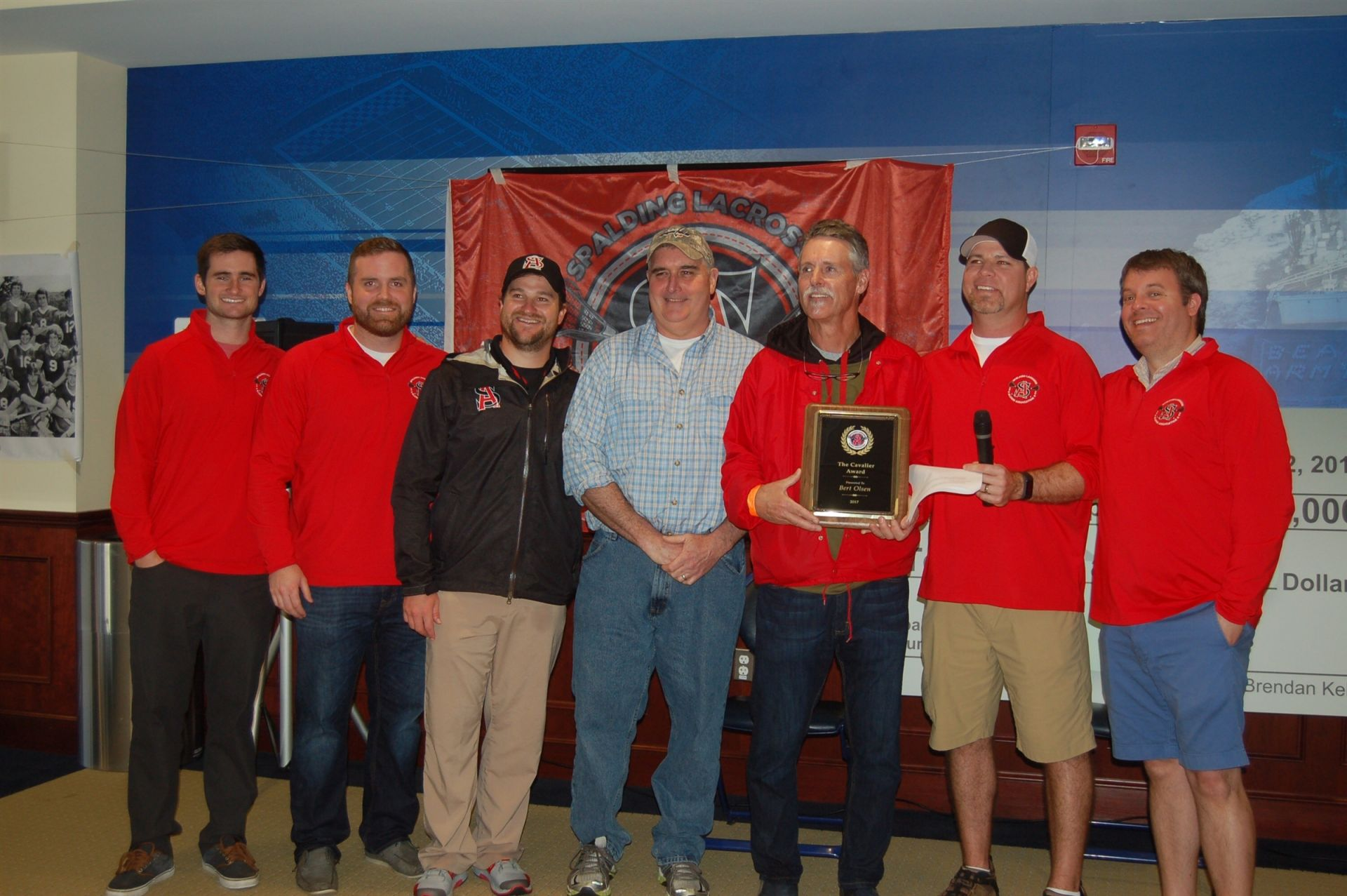 "Former Head Coach, Bert Olsen, was presented with the inaugural SLAA ""Cavalier Award"""