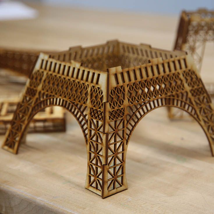 Y10 students learned technology tools to transform 2D computer images envisioned to be put together as 3D. Using the laser cutter they designed multiple pieces of the Eiffel Tower for assembly.
