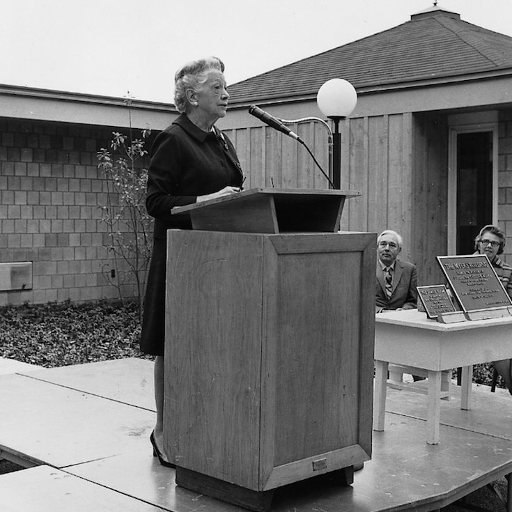 Tatnall's second head of school, Josephine Myers, speaks at the dedication of the Myers Preschool Building in 1971.