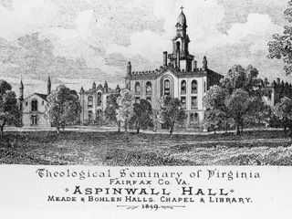 Sketch of the newly completed Aspinwall complex on the eve of the Civil War.  The first VTS Chapel, demolished in 1880, is at far left.
