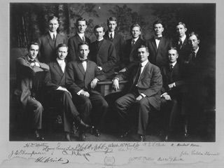 The  VTS Class of 1911 included Edward R. Dyer (front row, 3rd from left), later Bishop of Vermont, and Robert E.L. Strider (back row, 2nd from right) later Bishop of West Virginia.