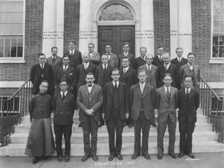 VTS has a long history of matriculation by international students, including Kimber H.K. Den and Graham Yu Ling Lieo (front row, left) from China in the Class of 1927.
