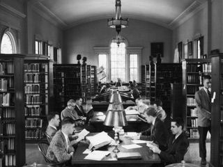 Studying in the old Packard-Laird Library, now the Center for the Ministry of Teaching, in the early 1950s.