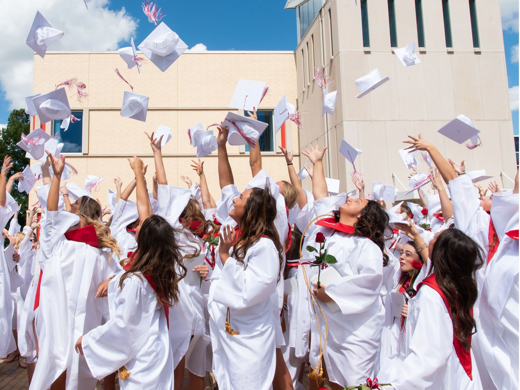 The Class of 2019 celebrates after receiving their diplomas