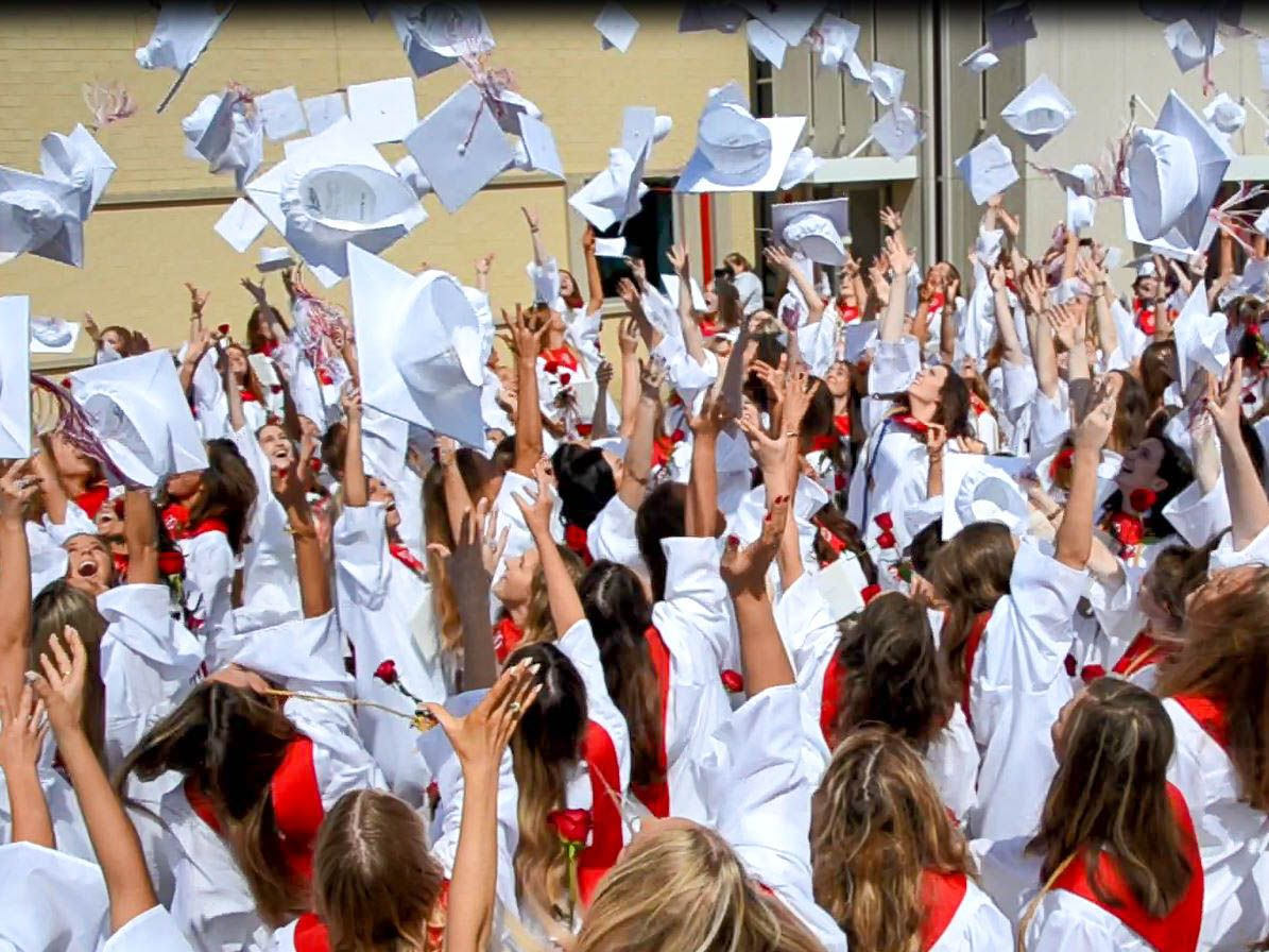 The Class of 2018 celebrates with caps in the air after graduation