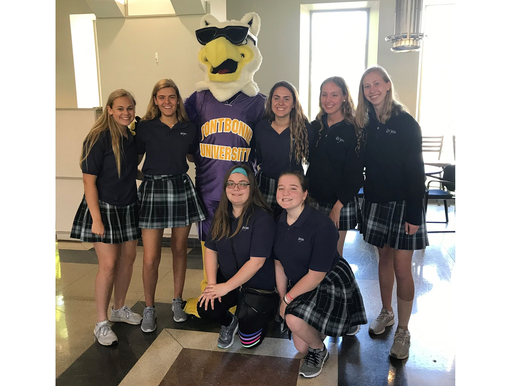 CJ Sophomores with the Fontbonne mascot