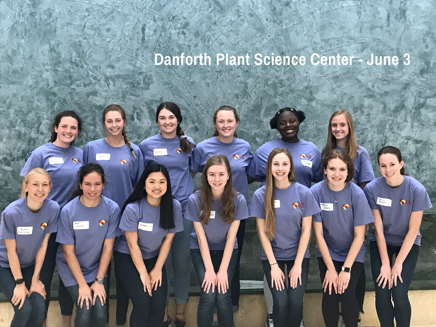 Cor Jesu students pose at the Danforth Plant Science Center on Monday of SEE Week
