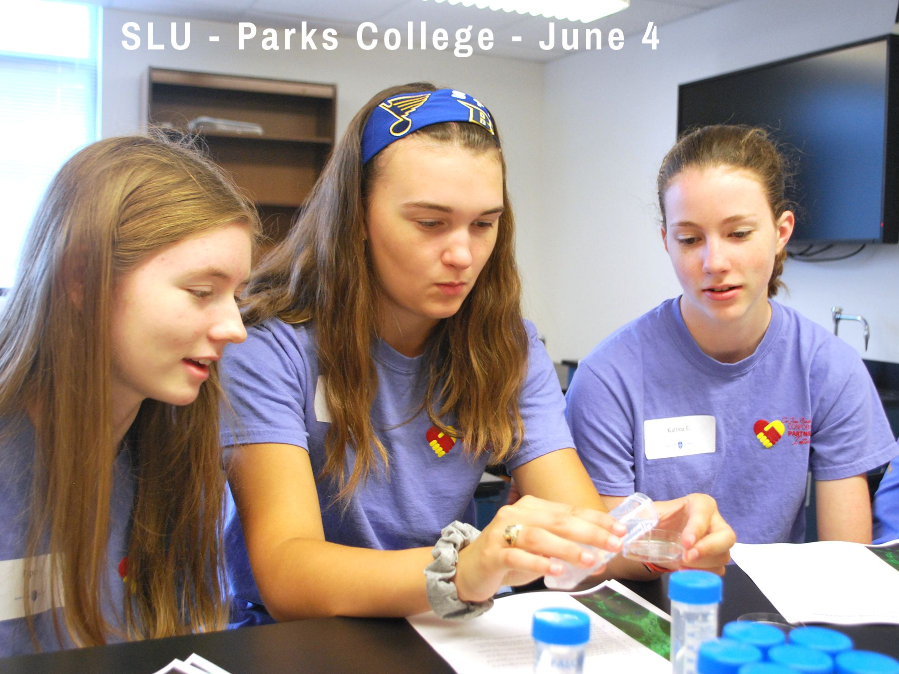 Cor Jesu students learn about biomedical engineering at SLU Parks College during SEE week