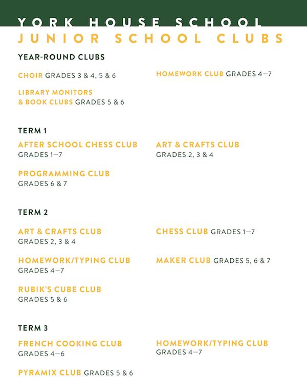 York House School | Clubs