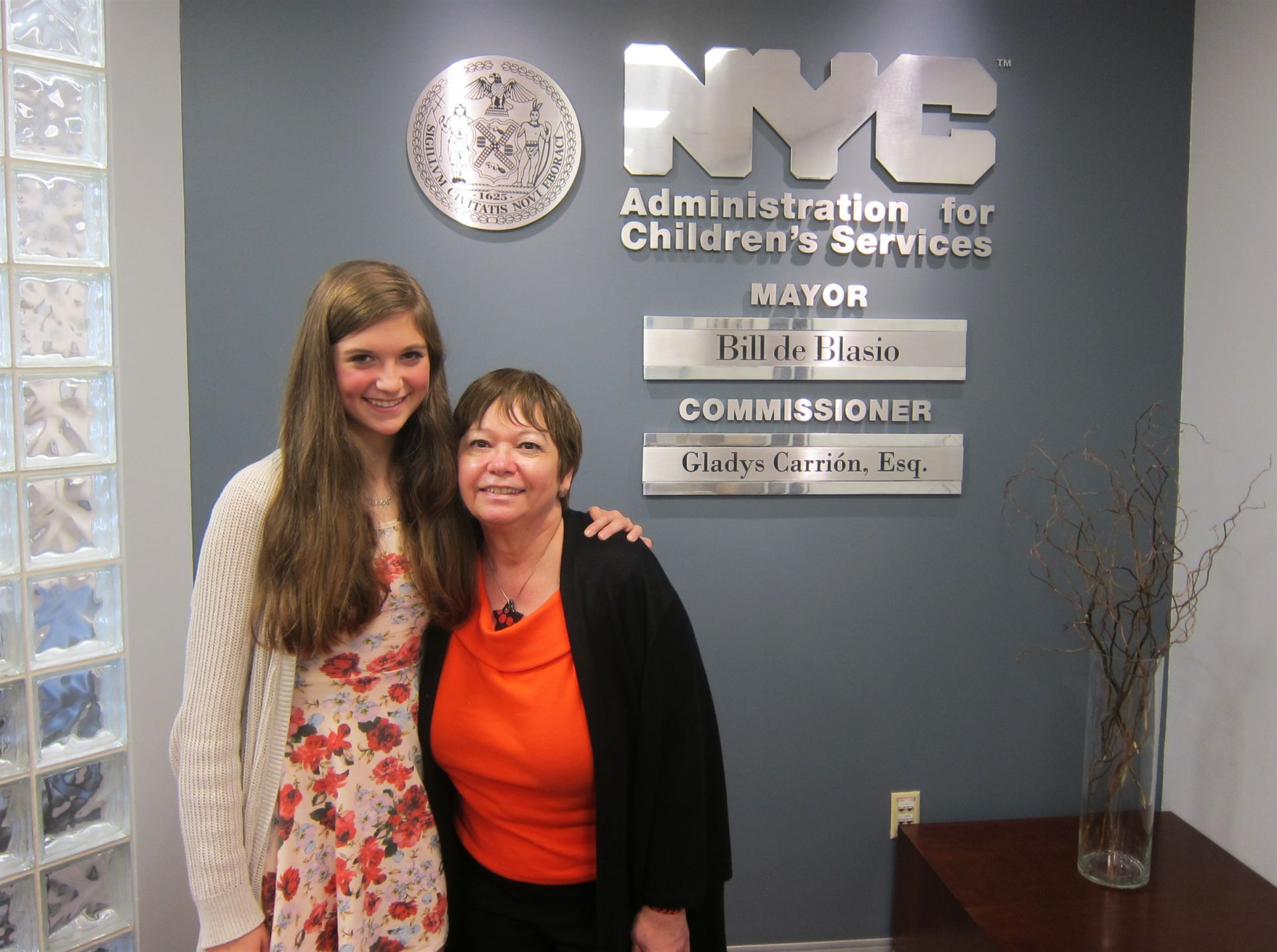 Hope Jackson had the opportunity to meet with Gladys Carrión, Commissioner of the New York City Administration for Children's Services, who was the subject of Hope's Declamation.