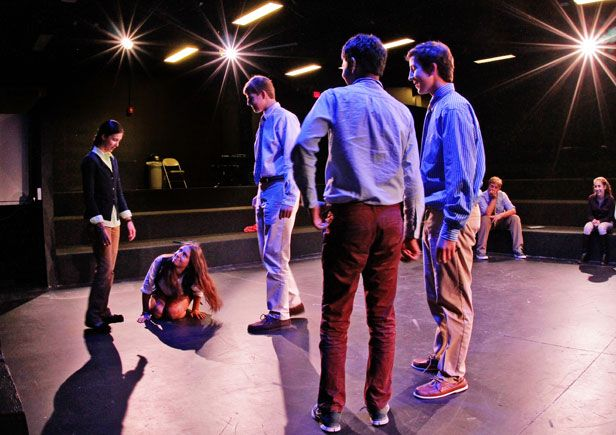Students in Acting I class rehearse in Black Box Theater