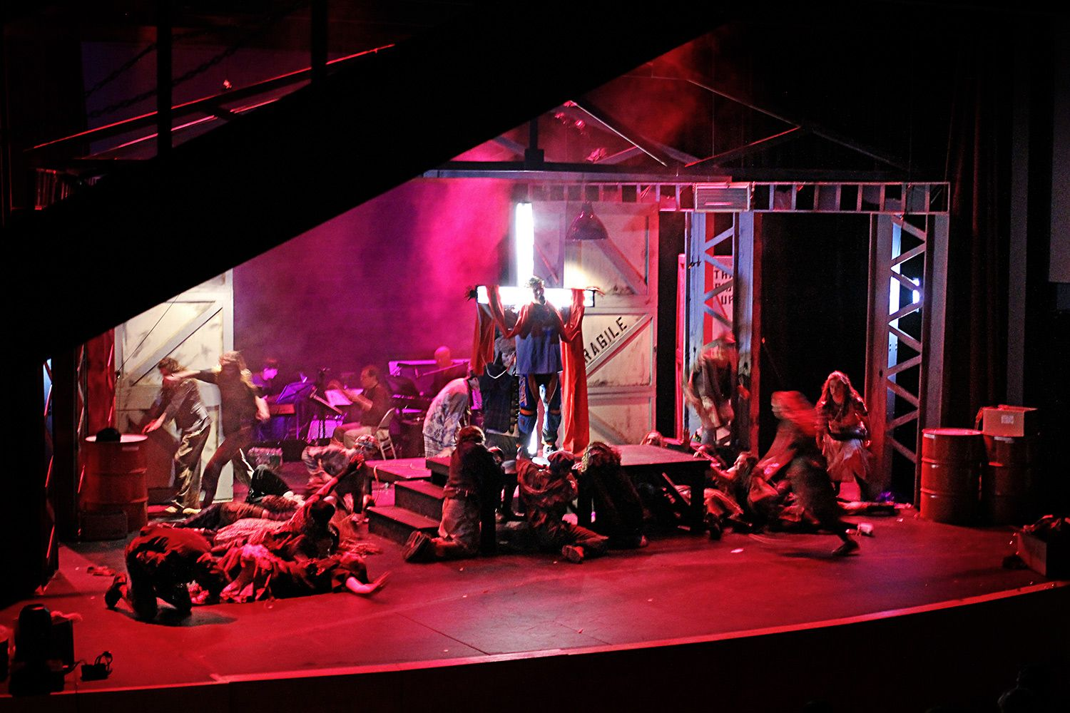 Set from US production of Godspell.