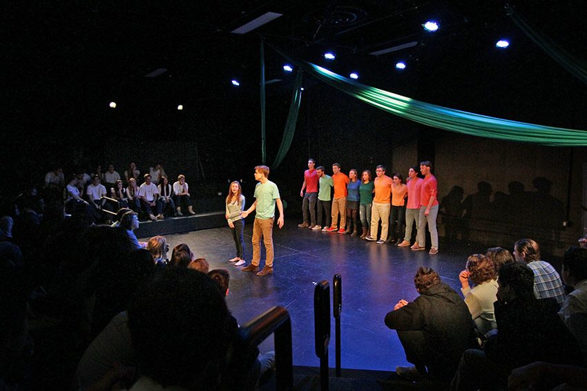 A performance in the Wyckoff Family Black Box Theater