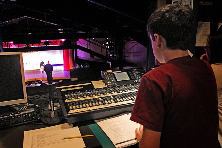 Tech crew controls lights and sound in St. Luke's state-of-the-art tech booth