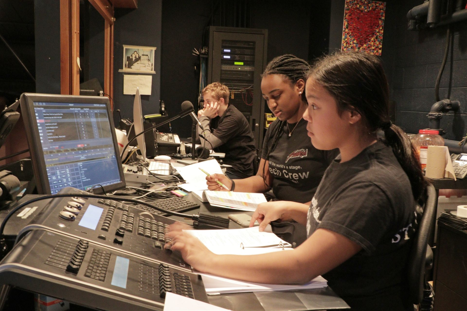 St. Luke's Tech Crew students serve in various leadership roles including running the boards in the booth during productions