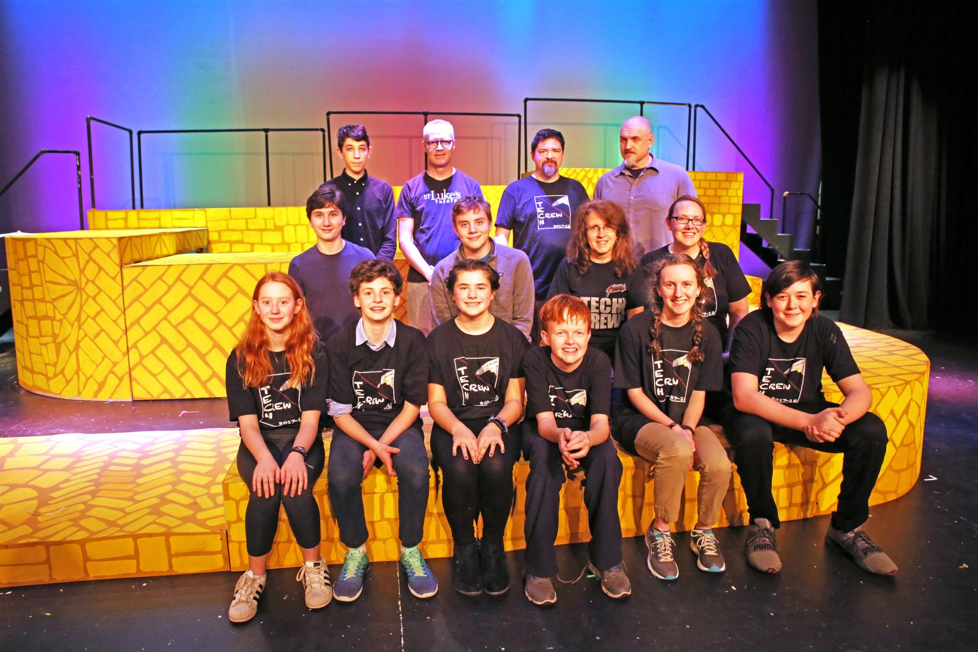 Middle School Tech Crew members on the Wizard of Oz Yellow Brick Road they built
