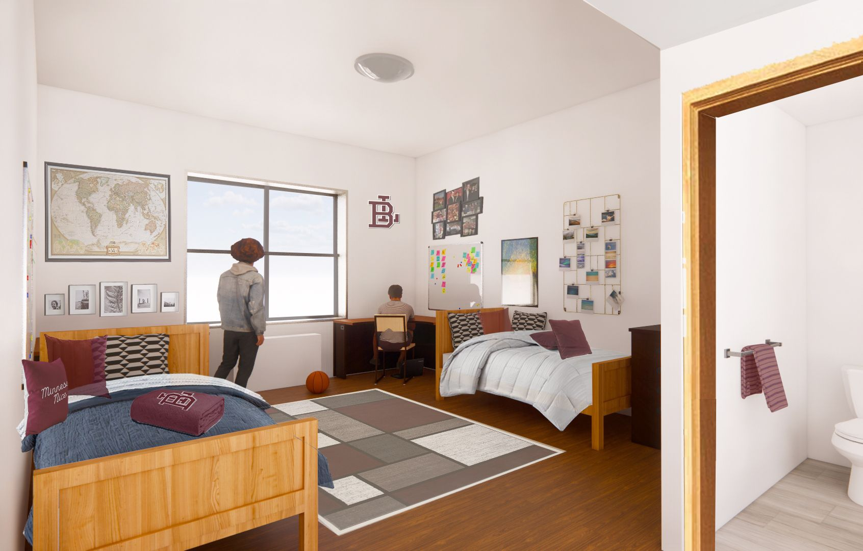 Each of the residence hall's twenty dormitory rooms will be sized at approximately 350 sq. ft.  with its own fully-equipped private bathroom.