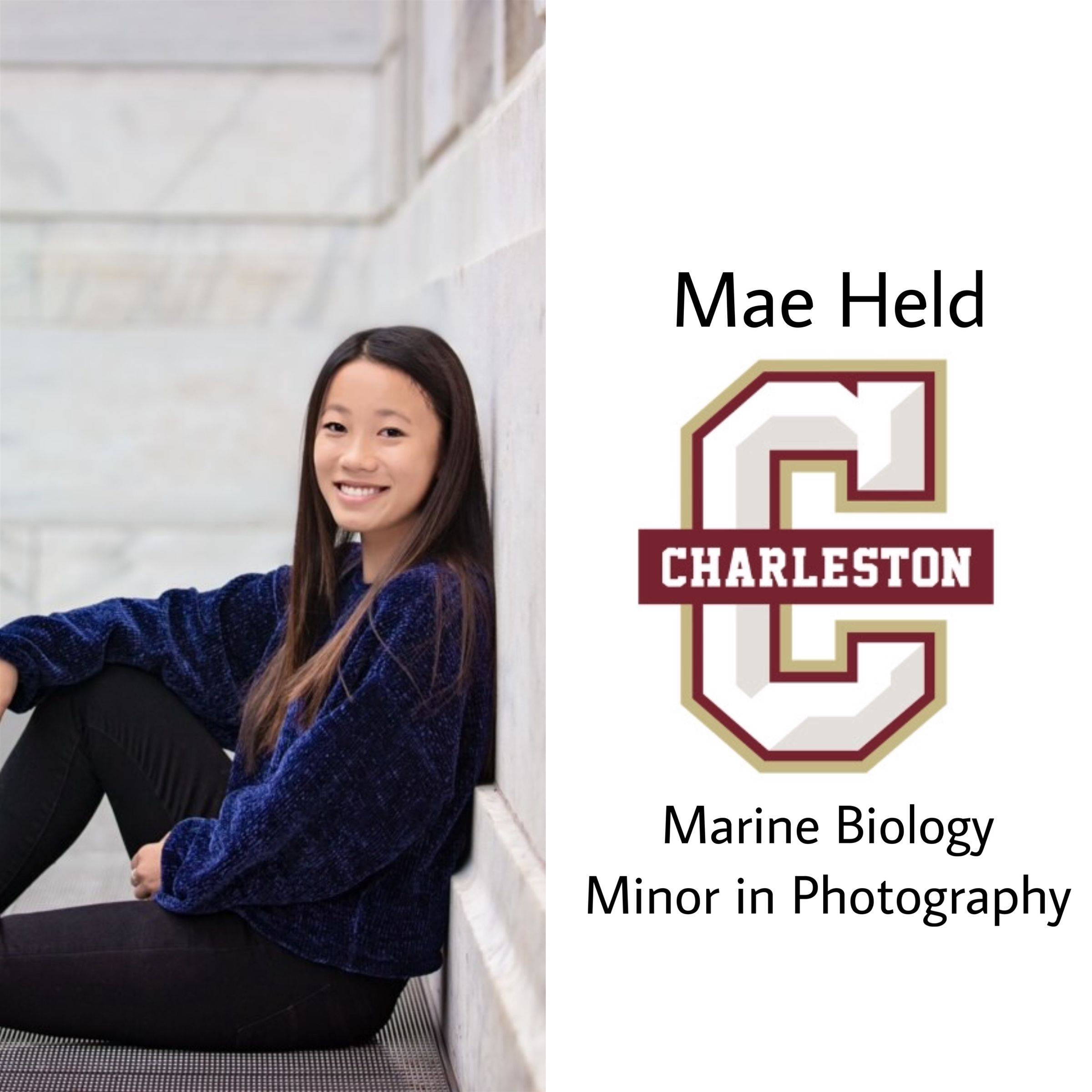 Freshly committed!! Congrats Mae, she will attending the College of Charleston this fall to study marine biology with a minor in photo!