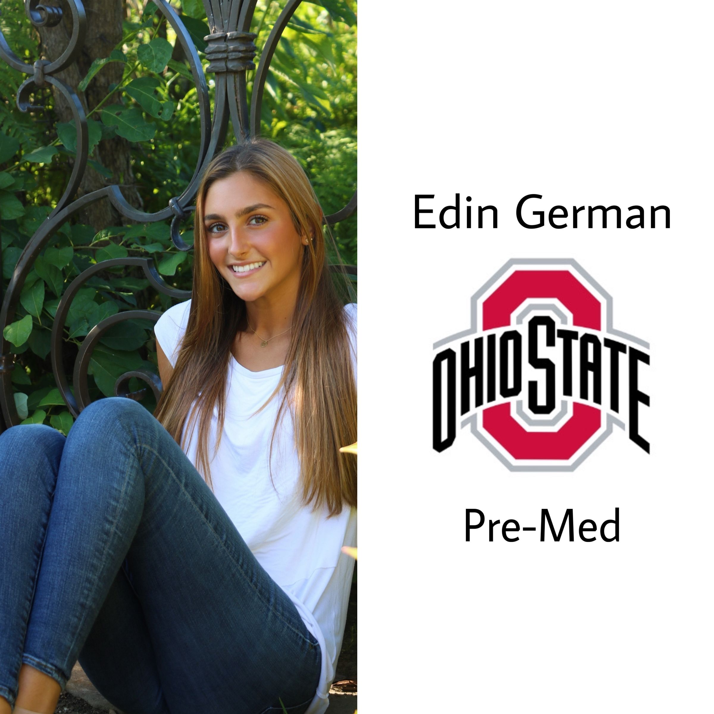 Another buckeye!! Congrats Edin!! She will be at the Ohio State University as a pre-med major!