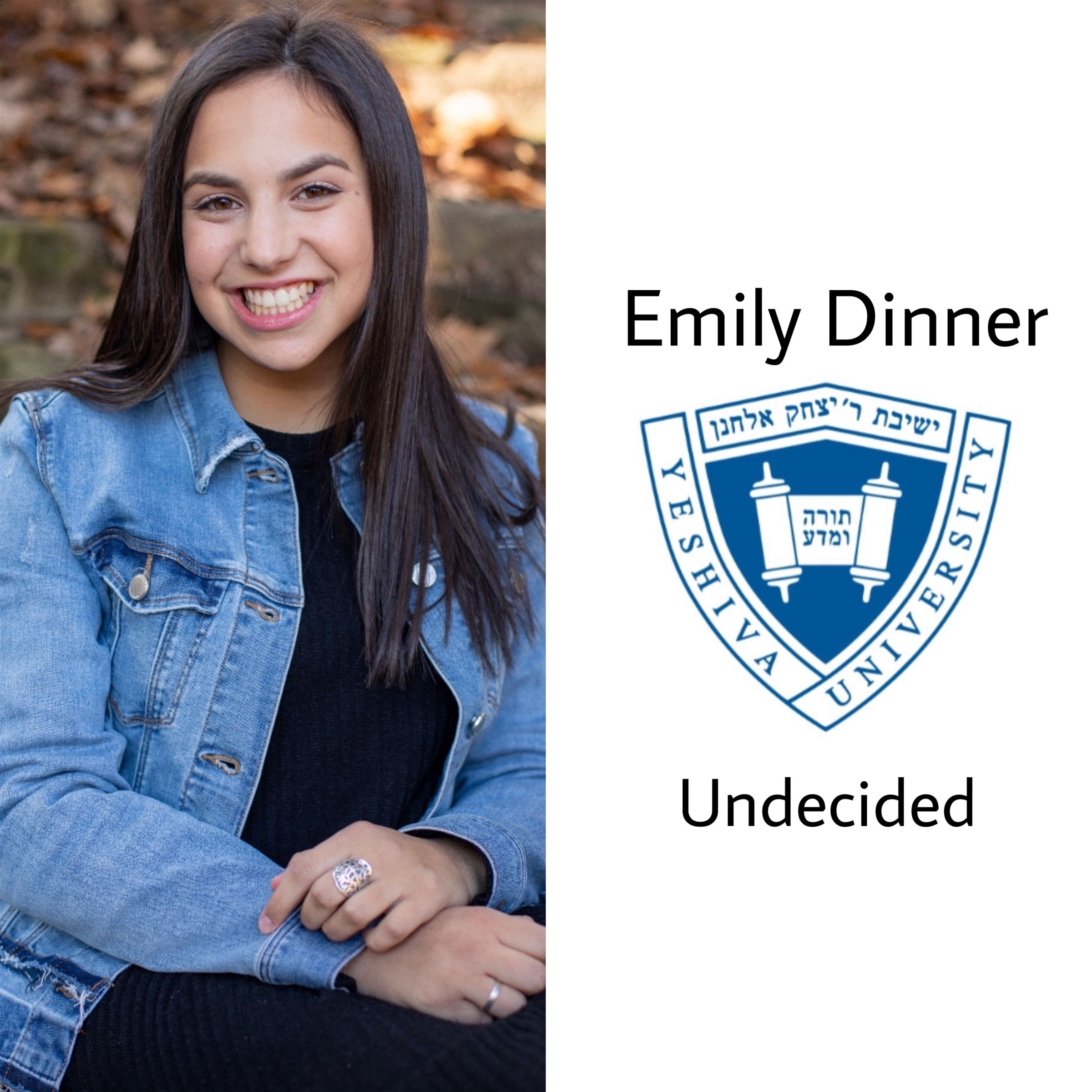Emily is taking a gap year in Israel and then will be studying at Yeshiva University!! Congratulations Emily, so so proud :)
