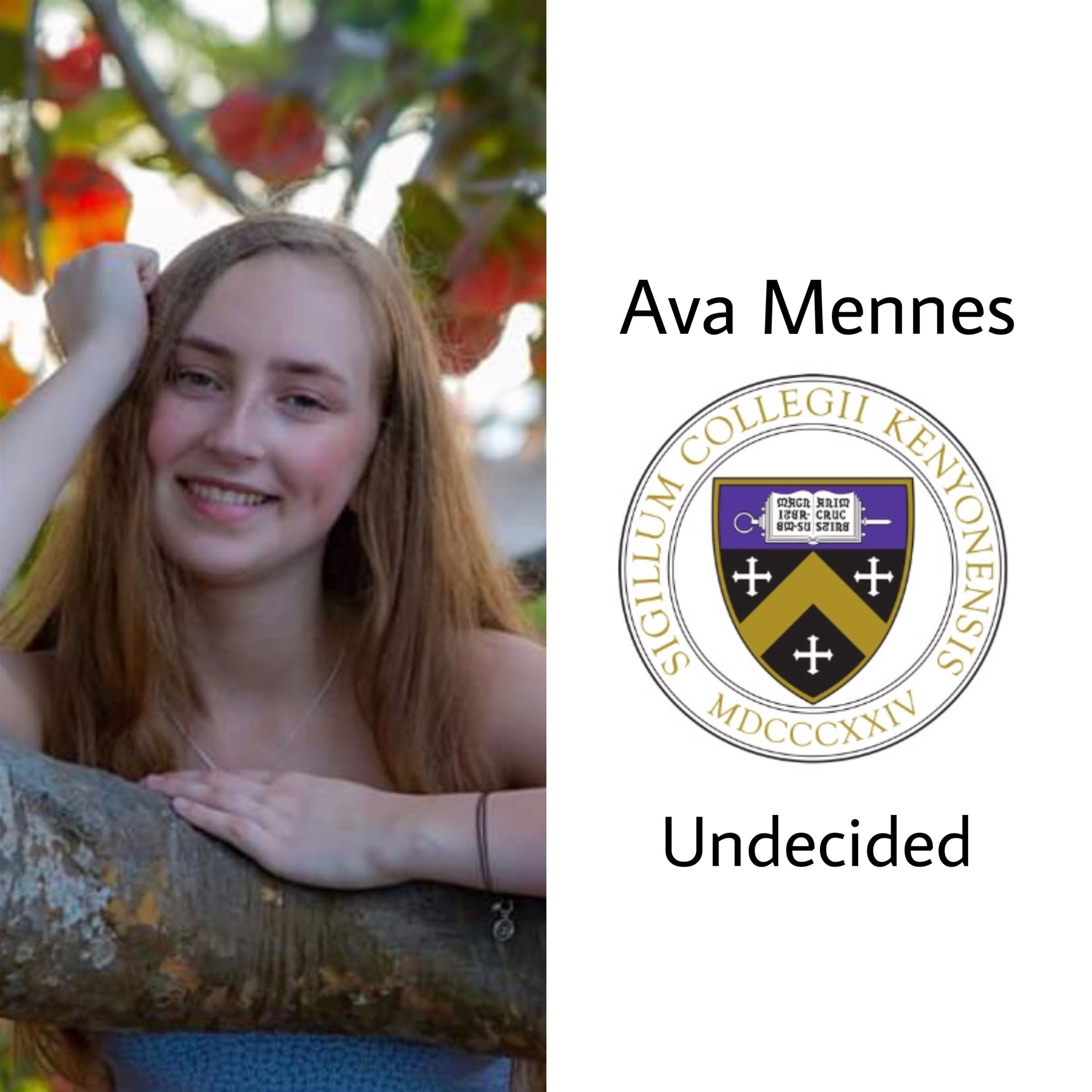 Another to Kenyon!!! So proud of Ava, she'll be headed to Kenyon next year undecided. Cannot wait to see everything you do!! Go Lords and Ladies