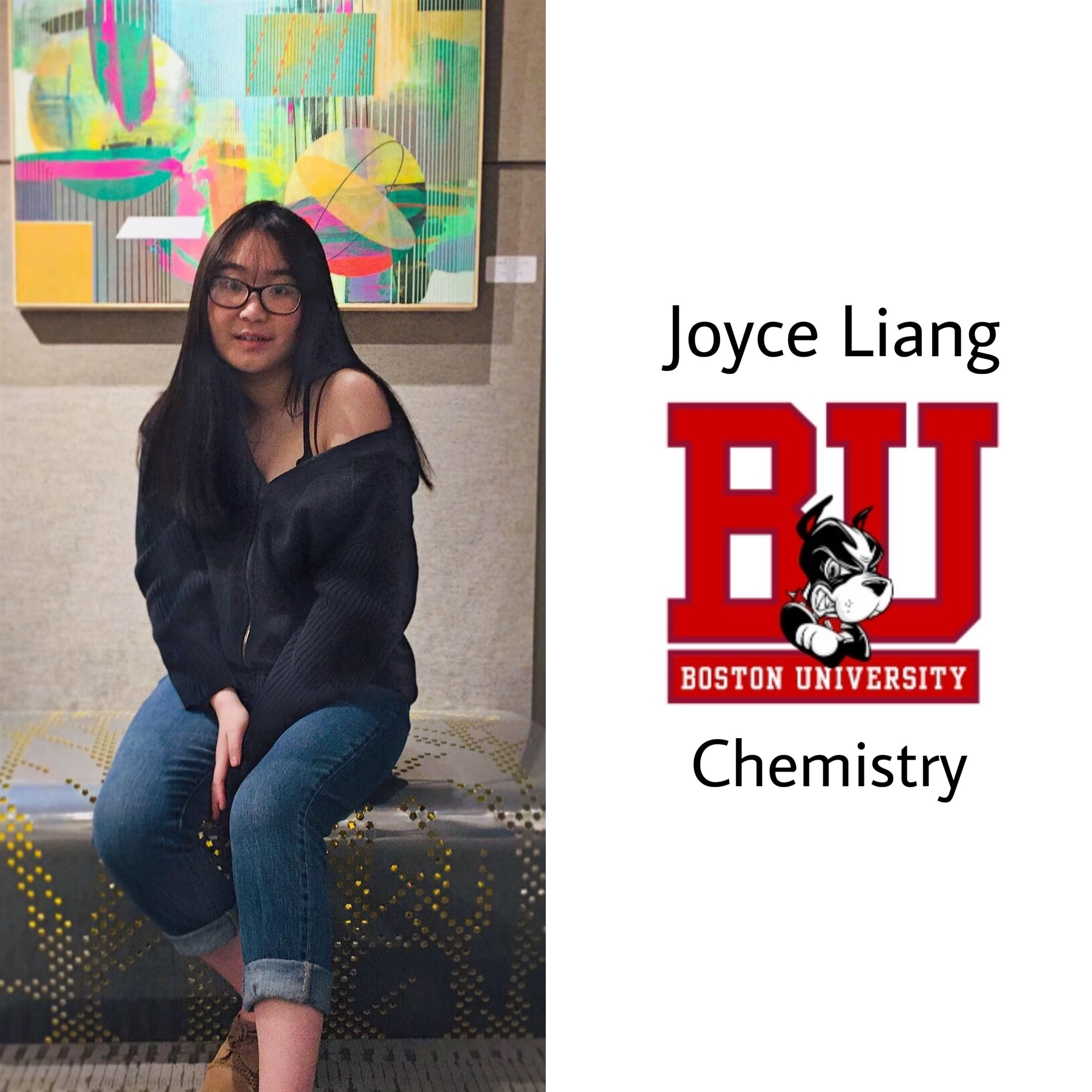 Congrats Joyce!!! Another Boston Terrier!! She will be at Boston University next year studying chemistry! :)