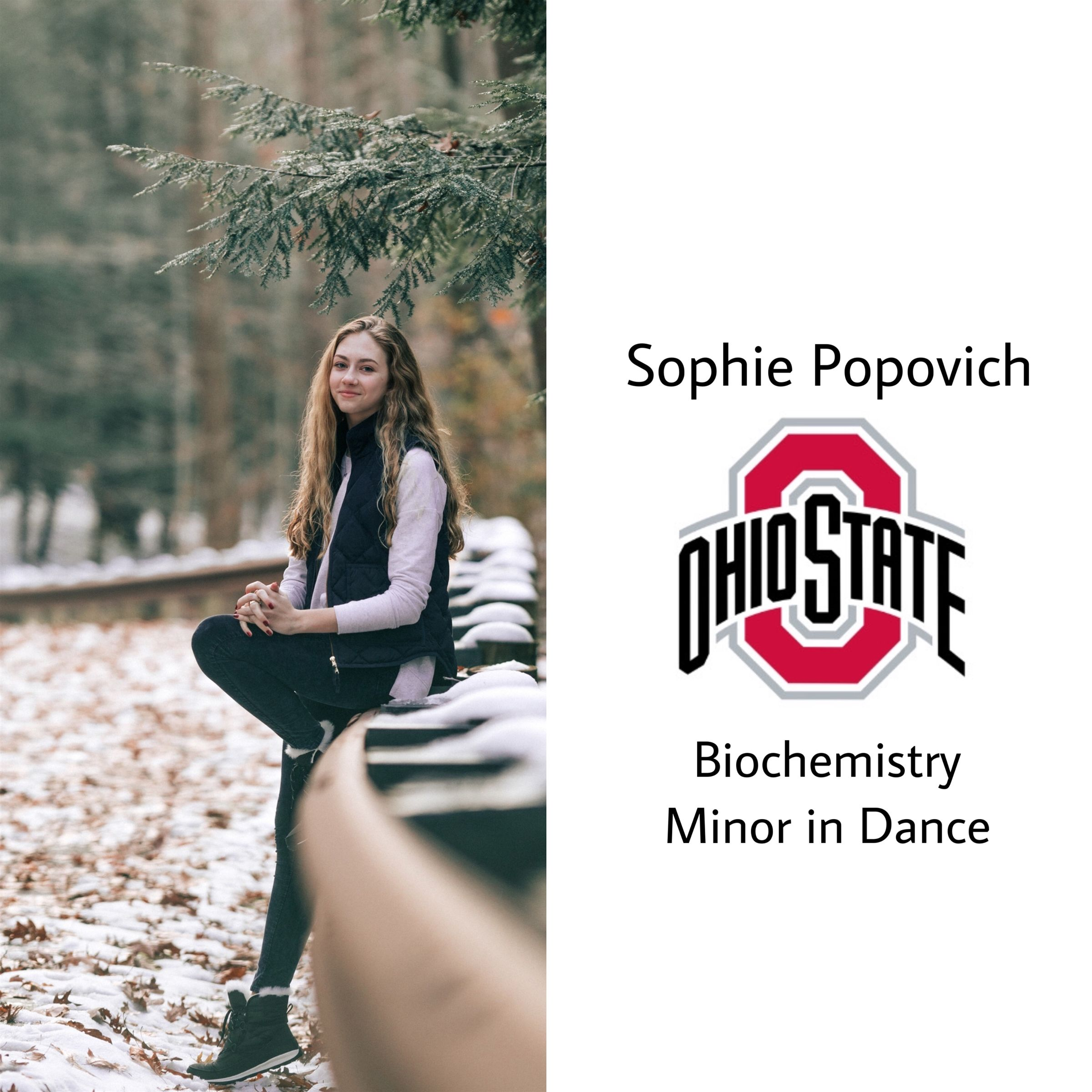 ANOTHER BUCKEYE!! Congrats Sophie, she will be at t'OSU next year majoring in biochem and minoring in dance!! So proud and so happy for you! :)