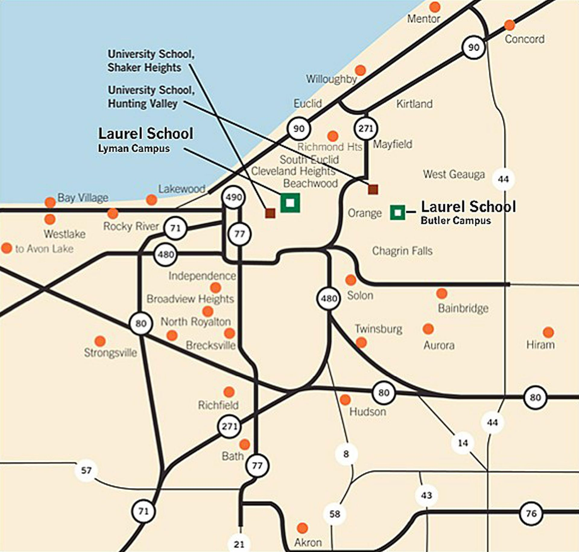 Bus service is available to Laurel School students from these communities (red dots) in Northeast Ohio.