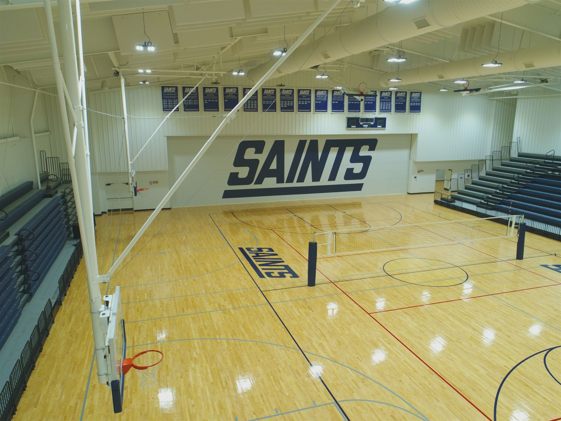 The Saints play basketball and volleyball in the ARC.